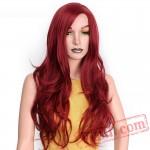 Long Red Wavy Wigs Black Women Natural Black Wave Wigs