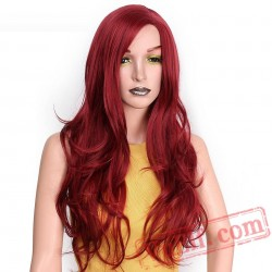 Long Red Wavy Wigs Black Women Natural Black Wave Wigs