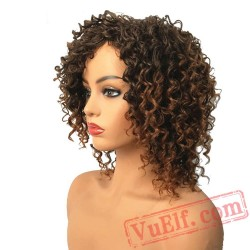 Short Afro Kinky Curly Wigs Women's Red Natural Hair