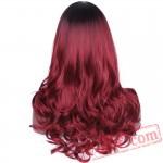 Long Wavy Red Blonde Wig Black Halloween Wigs Wave Hair Women