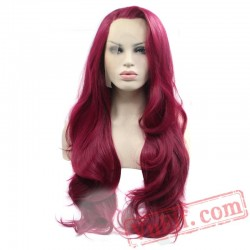 Lace Front Wig Natural Long Wave Wine Red Fully Hair Women Wigs