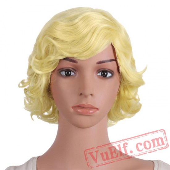 Beauty Blonde Dark Red Grey Short Curly Natural Wigs Women Hair