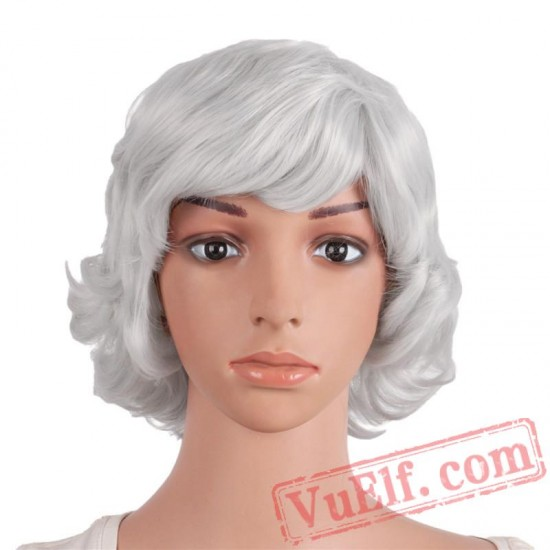 Beauty Blonde Dark Red Grey Short Curly Natural Wigs Women Hair