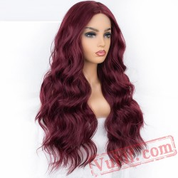 Long Burgundy Wavy Lace Front Wig Red Wine Women Wig