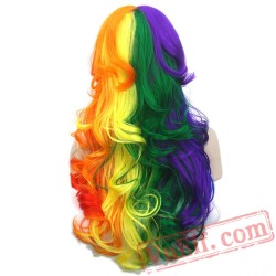 Long Curly Hair Cosplay Wigs Red Yellow Pink Women Party Hair Wig