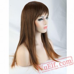 Full Long Straight Hair Wigs Women Daily Dress Cosplay red brown blonde