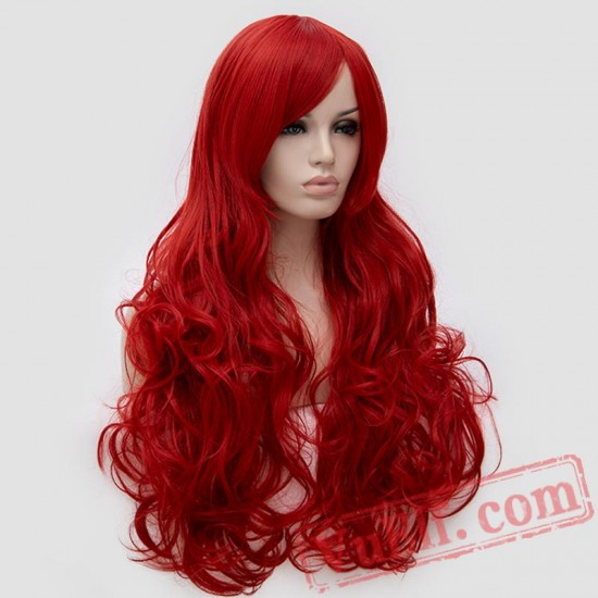 Long Curly Fluffy Red Cosplay Women Wigs Black Purple Pink ...