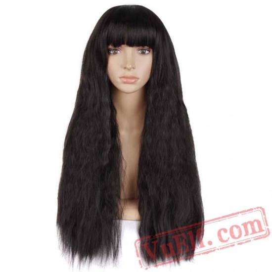 Long Kinky Curly Wigs Women Hair Black Pink Blonde Cosplay Wig