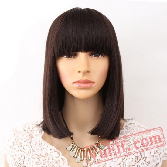 Straight Black Wigs Bangs Women Medium Length Hair Bob Wig