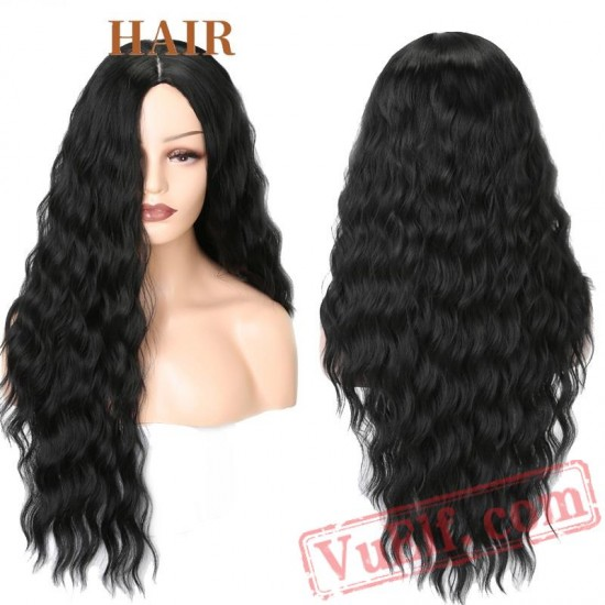 Red Black Long Water Wave Hairstyle Wigs Women Hair