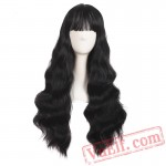 Beauty Long Curly Grey Brown Black Wig Cosplay Wigs Women