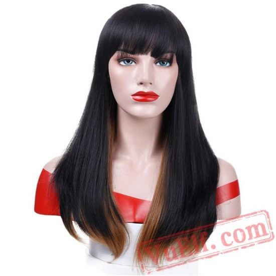 Short Black Wigs Women Flat Bangs Brown Straight Bob Wig Hair