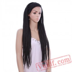 Beauty Long Black Wig Box Braided Lace Front Wigs Women