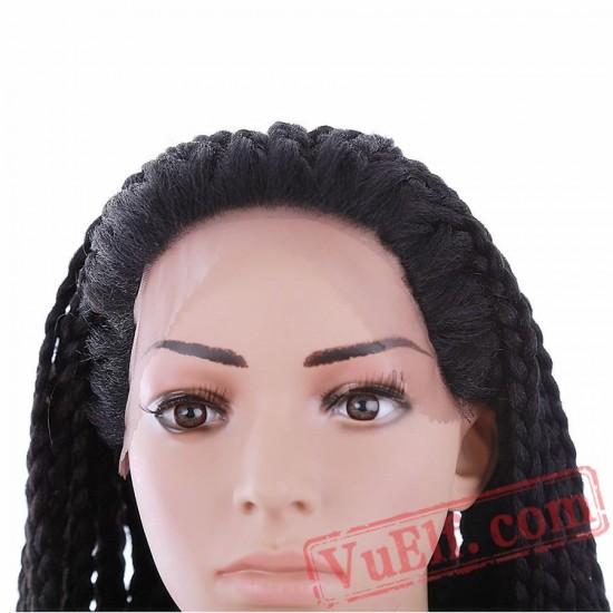 Beauty Long Black Wig Box Braided Lace Front Wigs Women