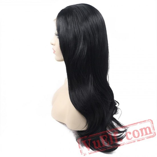 Long Natural Wave Black Wigs Lace Front Wig Women Cosplay