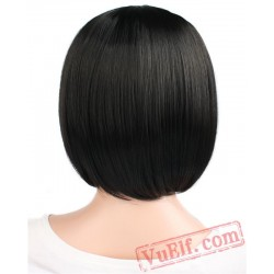 Beauty Short Straight Hair Black Brown White Blonde Cosplay Bob Wig Bangs Women