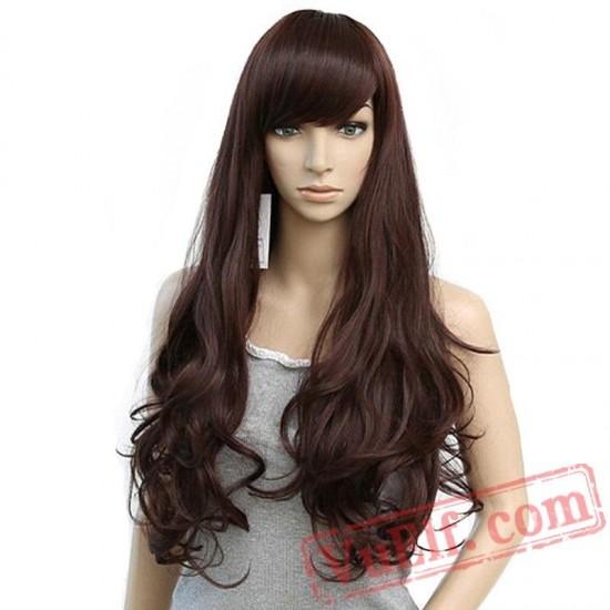 Long Loose Wave Wigs Women Black Light Dark Brown Hair Cosplay