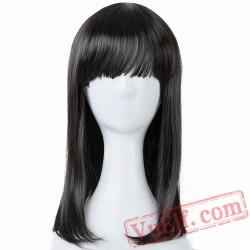 Hair Medium Wavy Black Wigs Flat Bangs