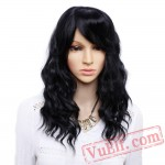 Black Bangs Natural Wave Wigs Women Black mix Brown Wig long Bob Hair wigs