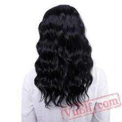 Black Bangs Natural Wave Wigs Women Black mix Brown Wig long Bob Hair wigs