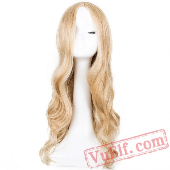 Black Long Curly Line Hair Cosplay Halloween Carnival Party