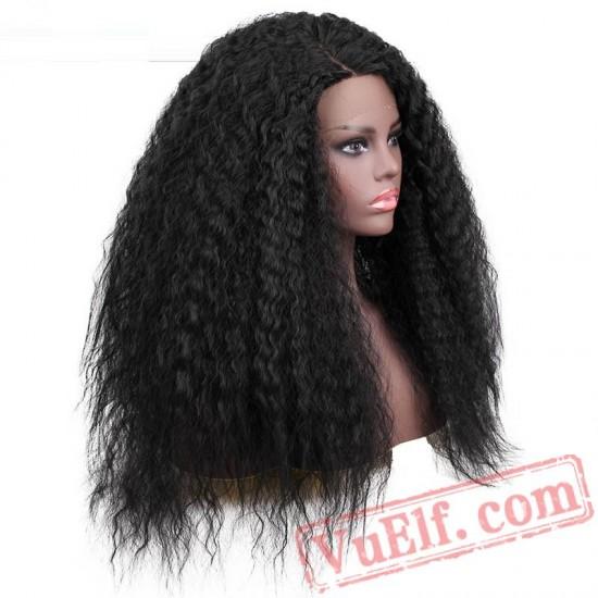 beauty Lace Front Wig Long Kinky Curly Black Wigs Women
