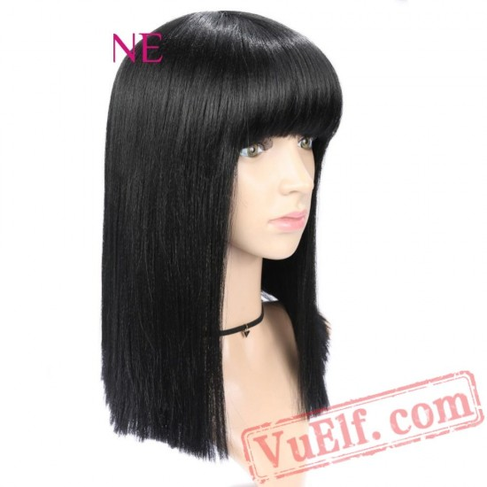 Straight Wigs Women Black Wig Bangs Natural Hair