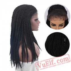 braided lace front wig African braids black wig women