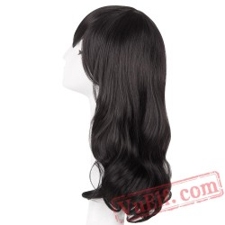 Black Wig Medium Wavy Hair Cosplay Party Women