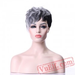 Gray Black Wig Short Curly Hair Wigs