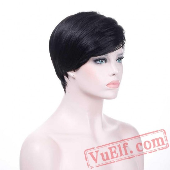 Fashion Short Black Wig Women Pixie Cut Hair Wig