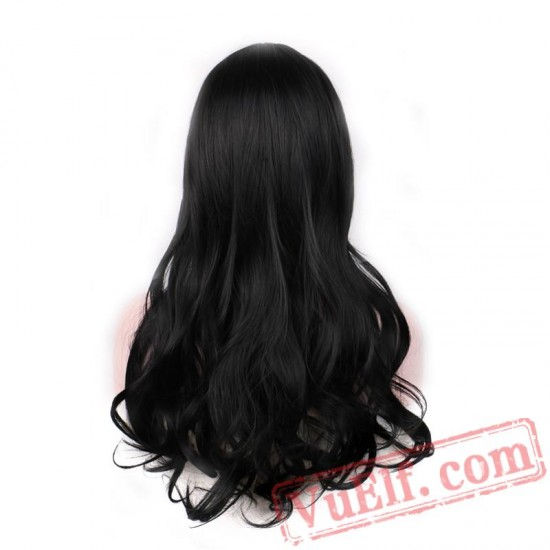curly long hair women wigs bangs dark brown black wig