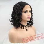 Black Wave Short Bob Natural Lace Front Wig Party White Women