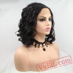 Black Wave Short Bob Natural Lace Front Wig Party White Women