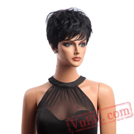 Short Black Wig Curly Hair Natural Wigs Women