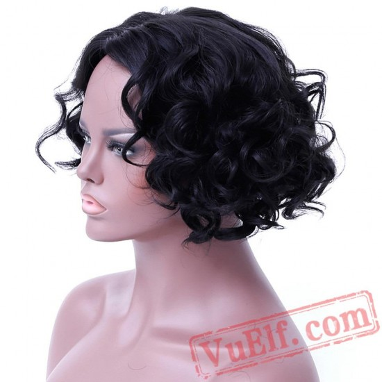 Short Wavy Curly Bob Cosplay Black Wigs Women
