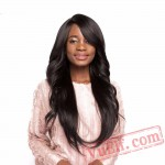 Black Straight Long Wigs Bangs Middle/Side Part Black Wigs