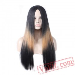 blonde/red/grey black long wig straight hair cosplay women wigs party