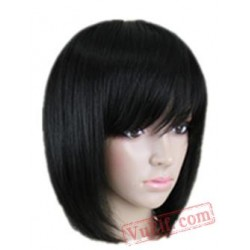 Black Wavy Hair Student Bob Peruca Pelucas Cos-play Short