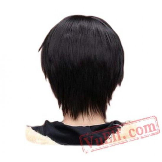 Men Boy Short Straight Cosplay Men Party Black Hair Wigs