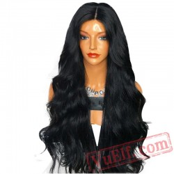 Brazilain Peruca Black Full Hair Wigs Long Wave Lace Front Wig