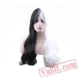 black white wig cosplay long wavy hair wigs women wig