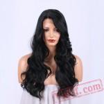Black Long Wavy Wigs Women Lace Wigs Capless Hair