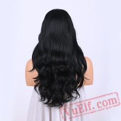 Black Long Wavy Wigs Women Lace Wigs Capless Hair