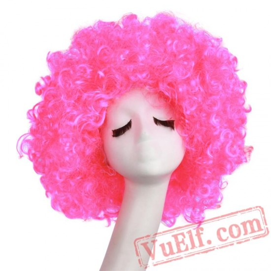 Beauty Afro Wig Kinky Curly Hair Black White Bobo Wigs Cosplay