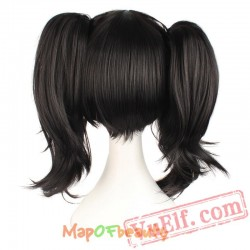 Beauty short curly hair black two ponytail Nautral Cosplay wig