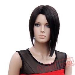 Kanekalon Short Black Wig Natural Straight Bob Full Wigs Women
