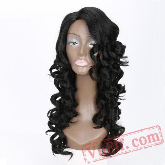 Long Kinky Curly Wig Blonde Pink Black Wig Women