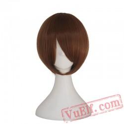 Short Bob Wigs Side Bang Women Straight Blonde Wig Pink