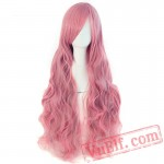 Long Wavy Cosplay Wigs Bangs Pink Black Blue Brown Blonde Women Wig Hair